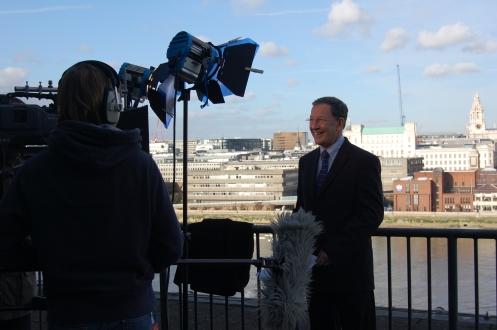 Presenter to camera at Tate Modern